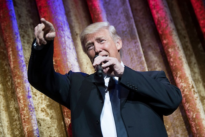 WASHINGTON, DC - JANUARY 17:  President-elect Donald Trump delivers remarks at the Chairman's Global Dinner, at the Andrew W. Mellon Auditorium in on January 17, 2017 in Washington, DC. The invitation only black-tie event offered an opportunity for Trump to introduce himself and members of his cabinet to foreign diplomats.  (Photo by Kevin Dietsch-Pool/Getty Images)